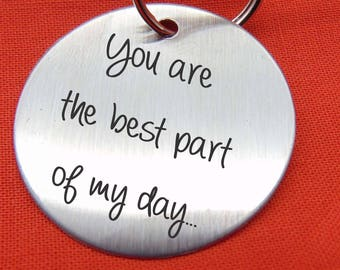 "Your Handwriting on Keychain- Handwritten Great Gift Brushed Stainless Steel- 1.5"" Round Stainless Steel Key Chain Custom"