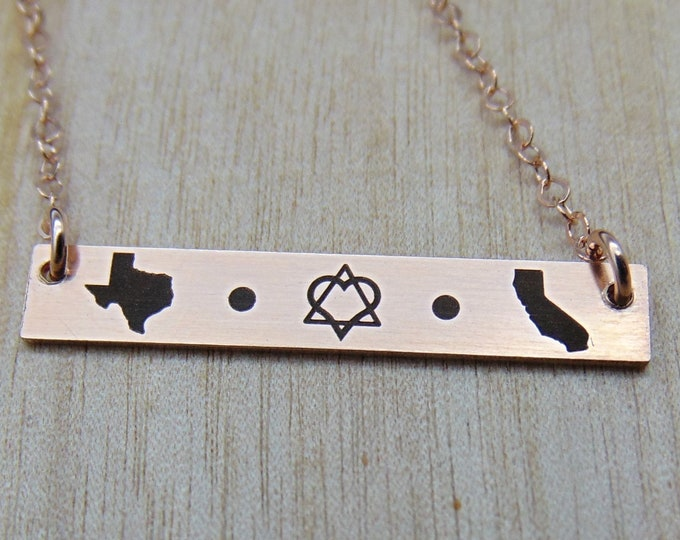 Adoption bar necklace. New Adoption Emblem! Personalized adoption jewelry, new mom, adoption gift Yellow Gold, Rose Gold, or Sterling Silver