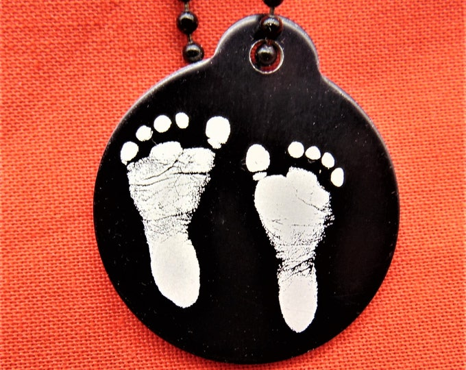 Child or Grandchild footprint Photo on Necklace with Personalize Text on back, Memorial, Birth Announcement, Baby Celebration