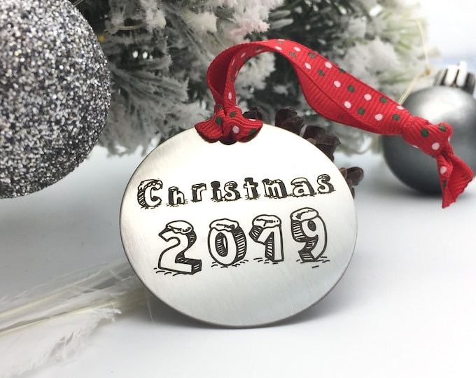 Christmas 2019 Ornament - Personalized Back Engraving of your choice- Your handwritting or Font Text- Brushed Stainless Steel- Family Gifts