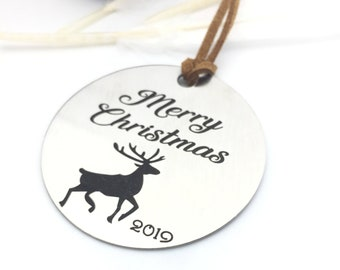Personalized Christmas Ornament 2019 - Back side engraving of your choice- Your handwritting or Font Text- Brushed Steel Christmas Ornament