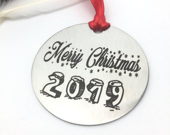Personalized Merry Christmas 2019 Ornament - Back side engraving of your choice- Your handwritting or Font Text- Brushed Steel- Family Gifts