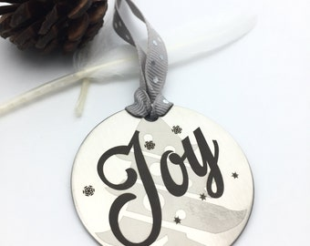 "Personalized ""Joy"" Christmas Ornament - Back side engraving of your choice- Your handwritting or Font Text- Brushed Steel Christmas Ornament"