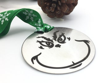 Personalized Grinch Christmas Ornament - Back side engraving of your choice- Your handwritting or Font- Brushed Steel Christmas Ornament2019