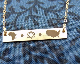 New Adoption bar necklace. New Design! Personalized adoption jewelry, new mom, adoption gift Yellow Gold, Rose Gold, or Sterling Silver