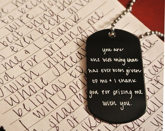 Handwritten Anodized Aluminum Dog Tag Your Handwriting (31-50 characters)