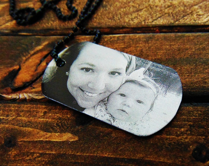 Engrave Image Dog Tag -  Handwriting Option - Personalized Text on Back - Remembrance Gift