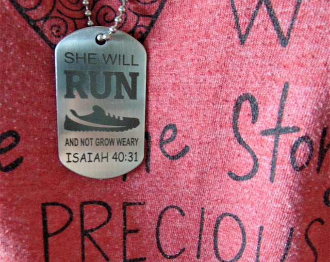 Run And Not Grow Weary Dog Tag, Stainless Steel Running Marathon Jogging women Gift