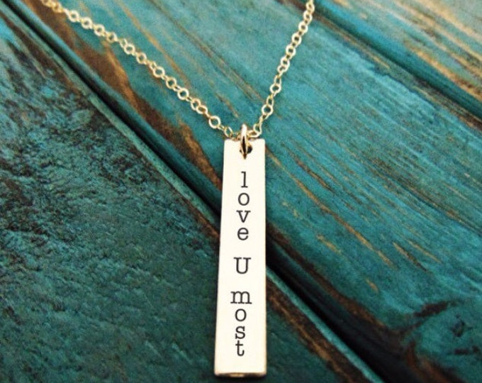 """Vertical Bar Necklace (1.2""""x .2"""") Yellow Gold, Rose Gold, Sterling Silver Personalized, Custom necklace available in 16, 18 or20"""" Great Gift"""