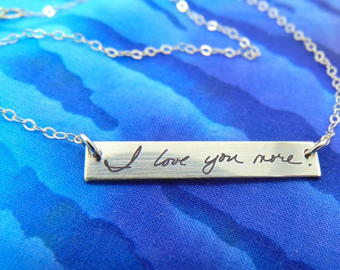 "Handwritten Bar Necklace (1.2"" x .2"") Your Handwriting Message Rose Gold Yellow Gold Silver Christmas gift"