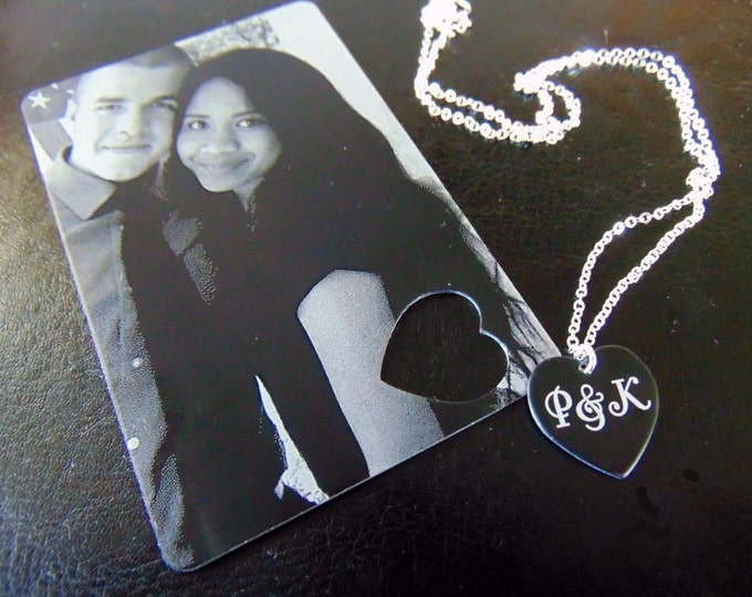 Picture Wallet Card with Heart Cutout, Heart Necklace- Photo on Front, personal message on back