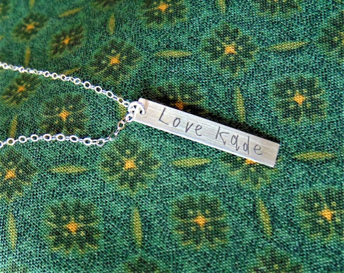 "Child's Writing on Vertical Bar Necklace (1.2""x .2"") Yellow Gold, Rose Gold, Sterling Silver"