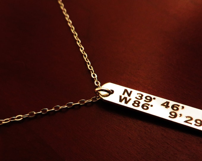 "Sterling Silver Latitude Longitude GPS Necklace Custom,  Gift Girlfriend Gift (1.250"" .200"") available in 16, 18, or 20 inch necklace"