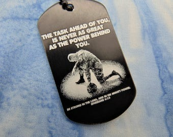 Soldier Deployment Military Deployment Picture On Dog Tag with Personal Message on Back Christmas gift
