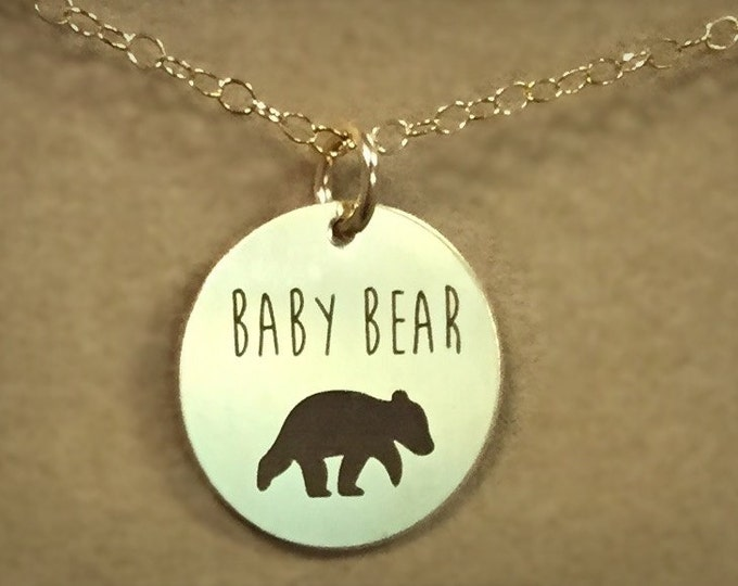 Baby Bear Necklace in Yellow Gold or Rose Gold, Custom Gift, Expectant mothers Gift, Christmas gift