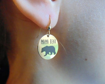 Mama Bear Earrings in Yellow Gold or Rose Gold or Sterling Silver,Gift For Mom,