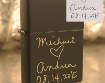 Personalized or Handwritten Black Zippo Lighter Great Groomsman Gift Custom Unique Lighter great gift