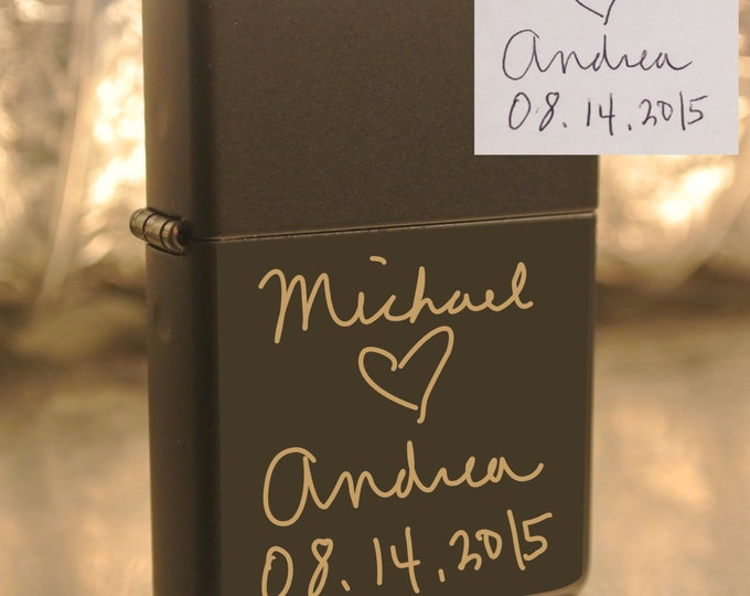 Personalized or Handwritten Black Zippo Lighter Great Groomsman Gift Custom Unique Lighter great gift