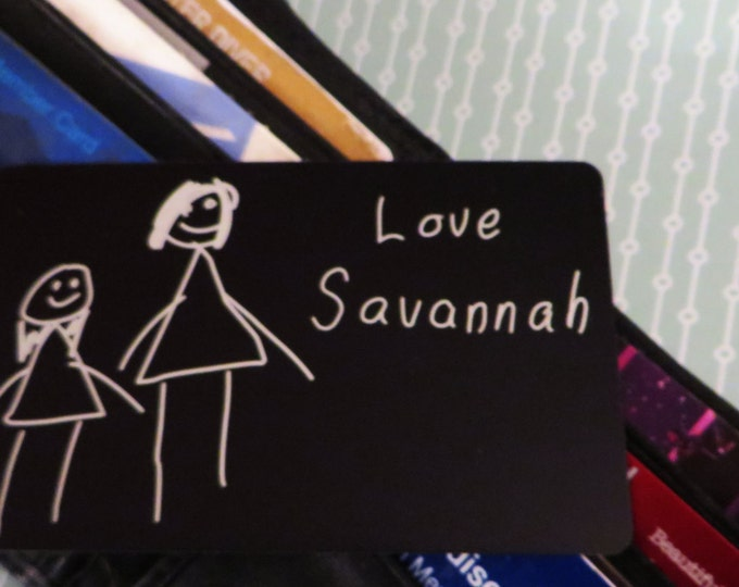 Your Child's Picture Engraved Wallet Insert Custom Card Simple drawings etched so you can keep it with you!
