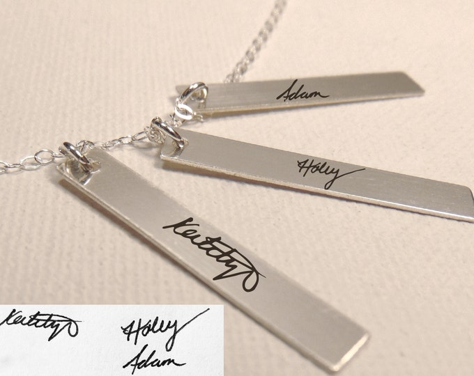 "Handwritten Sterling Silver, Rose Gold or Yellow Gold Triple Vertical Bar Necklace (1.25"" x .2"")Personalized"