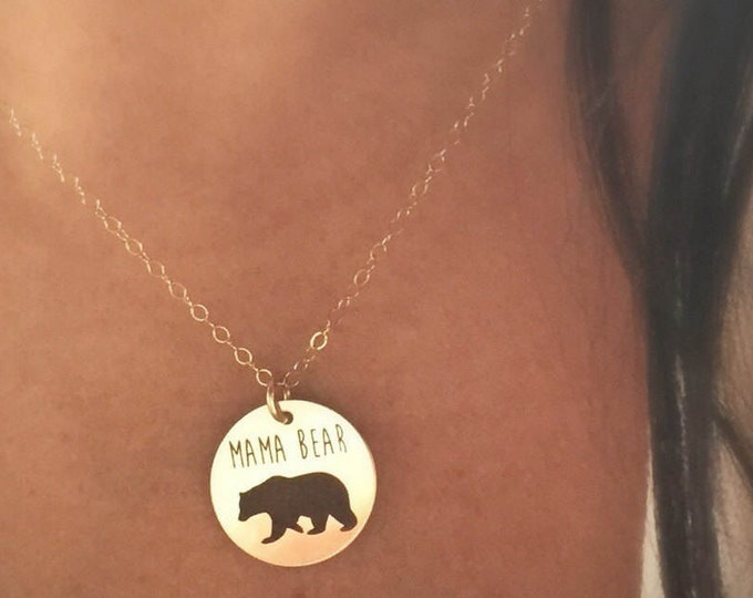 Mama Bear Necklace in Sterling Silver, Yellow Gold or Rose Gold, Christmas