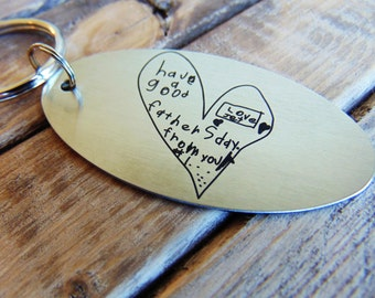 Kid's Drawing Key chain - Actual Child's Handwriting Laser Engraved -  Brushed Stainless Steel-