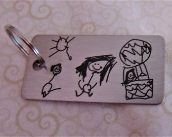 Child's Artwork Drawing on Key chain,Or Handwriting - Brushed Stainless Steel  Christmas Gift-