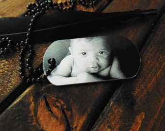 Engraved Picture Dog Tag - Handwriting Option -  Memorial Gift - Gift for Dad - Christmas gift