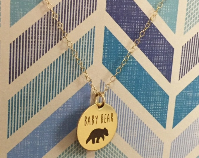 Baby Bear Necklace in Gold or Rose Gold, Gift For Mom, Gift for Daughter, Baby Shower