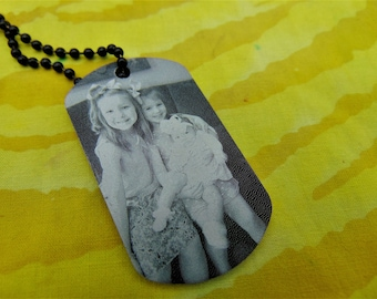 Children's Picture On Dog Tag with Personal Message on Back -Your Handwriting Or Text Option -Great Gift for Mom, Dad, Grand Parents
