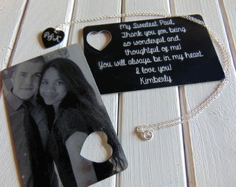 Picture Wallet Card with Heart Cutout, Heart Necklace- Photo on Front, text or handwriting on back
