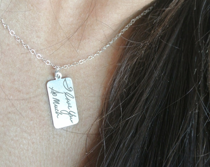 "Handwritten Sterling Silver Pendant Necklace (0.7 "" x 0.4"") Laser Engraved Etched Personalized"