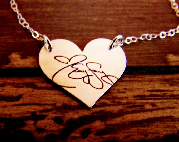 Handwritten Sterling Silver Heart Pendant Necklace, Personalized, Custom, Wife, Girlfriend,