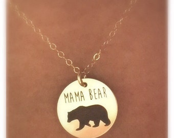 Mama Bear Necklace in Sterling Silver,Yellow Gold or Rose Gold Gift For Mom,