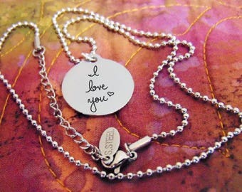"""Custom Handwritten Brushed Stainless Steel Round Pendant Necklace (7/8"""") Your Writing Personalized,"""