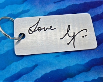 Handwritten Key chain  -Handwriting -  Engraved - Brushed Stainless Steel  Christmas Gift