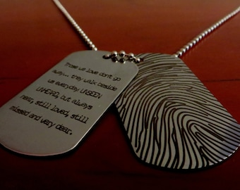 Custom Fingerprint Dog Tag - Your fingerprint laser engraved -Stainless Steel- One Dog Tag