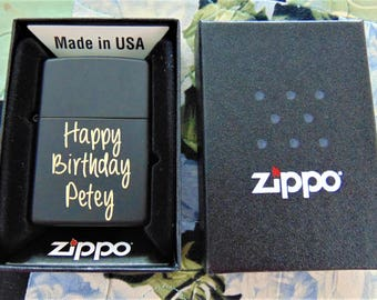 Available for Christmas Delivery!Black Zippo Lighter Customized in Hand Writing or Computer Font Just for You Unique gift- beautiful item!