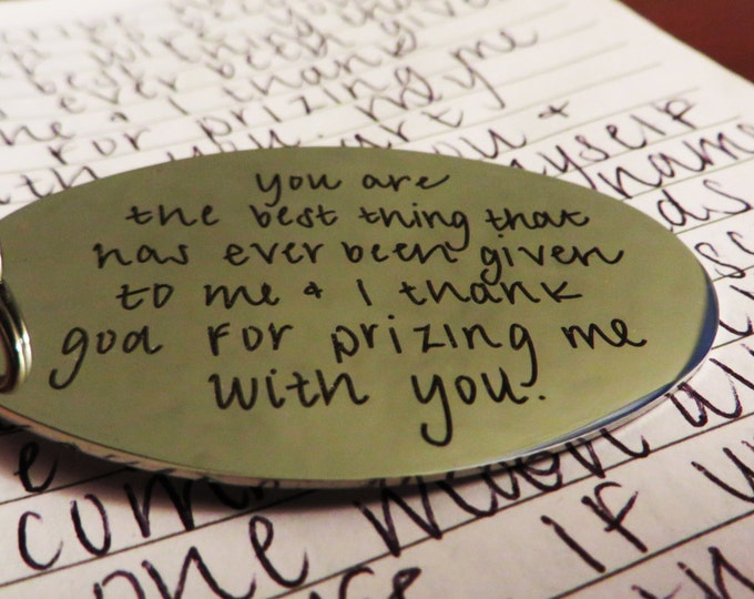 Your Handwriting(51-75 characters) Handwritten Brushed Steel Keychain Engraved Remembrance