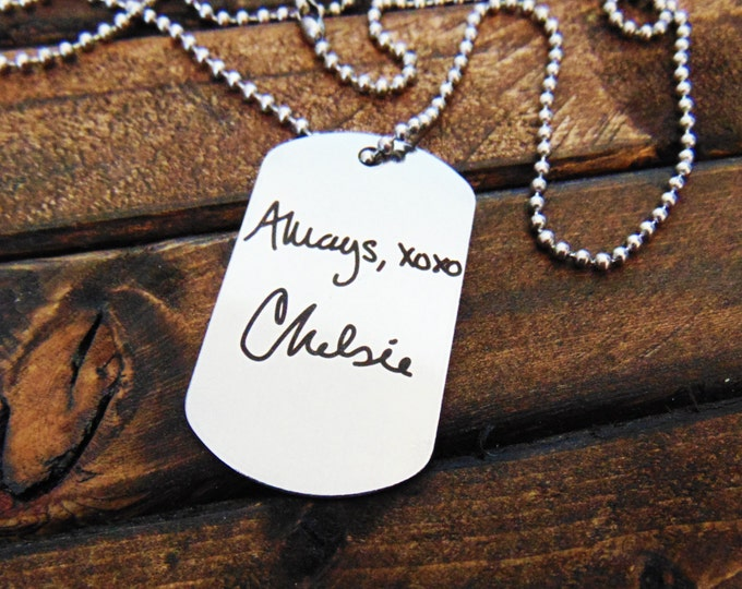 Actual Handwriting Dog Tag - Necklace or Keychain Option -  Signature Dog Tag - Christmas gift