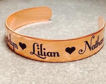 Copper Bracelet Personalized Bracelet Satin Finish, Custom Text, Girlfriend, Mom, Wife, Grandma