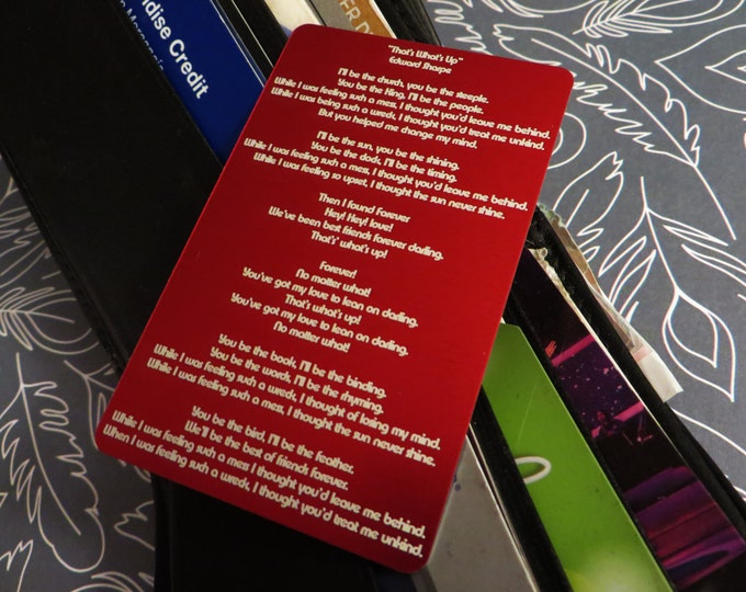 Engraved Metal Wallet Insert, Favorite Song Lyrics, Personalized and Custom, Beautifully Etched