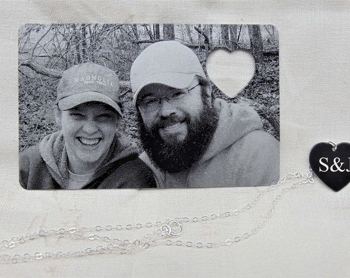 Picture Wallet Card with Heart Cutout, Heart Necklace- Photo on Front, Christmas gift