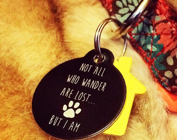 Pet Tag Custom Laser Engraved - Black Anodized Aluminum Pets; Cat Dog Animal Lovers
