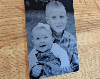 Engraved Kid's Photo Wallet Insert With Picture Personalized Custom Etched on Anodized Aluminum  Groomsman Great Gift for Mom Dad Grandpa