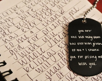 Handwritten Anodized Aluminum Dog Tag- Your Handwriting (up to 30 character)