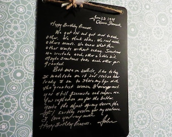 Engraved Handwritten Note From Johnny Cash to June Carter - Wall Decoration - Christmas Gift