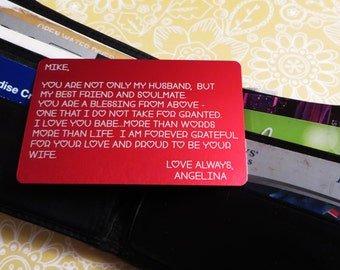 Engraved Wallet Insert Love Note Personalized Custom Wallet Card Beautifully Etched Christmas gift