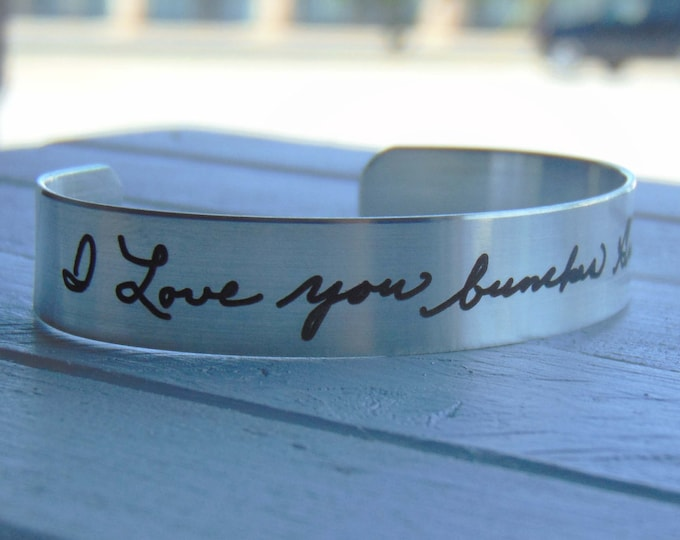 """Handwritten Stainless Steel Bracelet .5"""" x 6"""" Your Handwriting Personalized Custom Unique"""