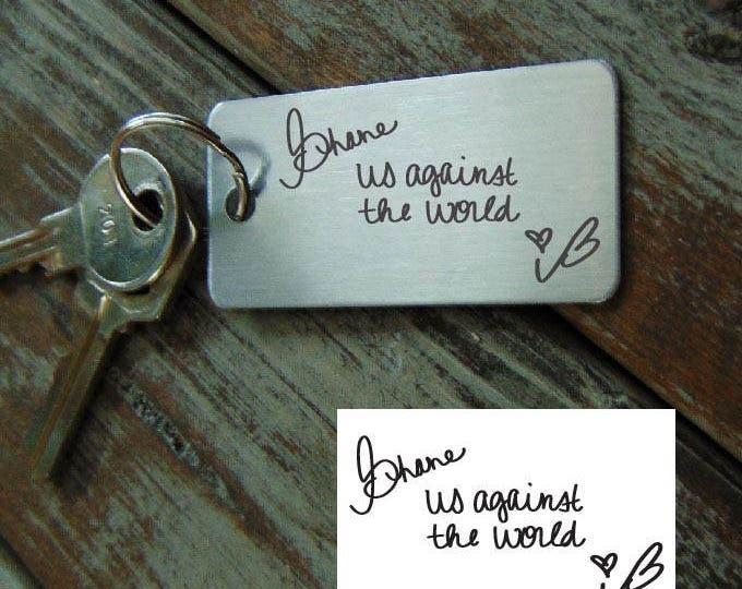 Handwritten Key chain  - Mom's Handwriting -  Engraved - Brushed Stainless Steel Christmas Gift